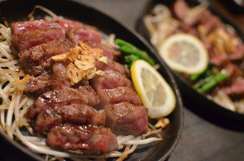 阿知須牛のステーキ