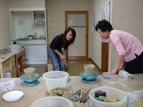 萩焼作陶体験に苦戦